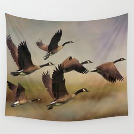 Geese On A Foggy Morning Wall Tapestry