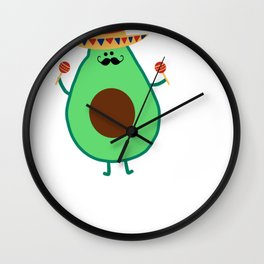 Cinco De Mayo Avocado Guac On Sombrero Wall Clock