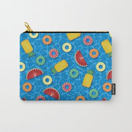 Fruit Salad Pool Floats Pattern – Blue Carry-All Pouch
