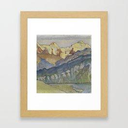 Eiger, Monch and Jungfrau from Beatenberg by Ferdinand Hodler, 1910 Framed Art Print