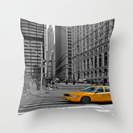 NYC - Yellow Cabs - Trinity Place Throw Pillow