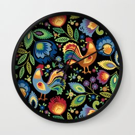 Polish Folk Roosters Wall Clock