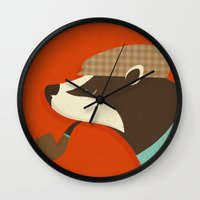 country Wall Clocks featuring Country Badger by Zara Picken