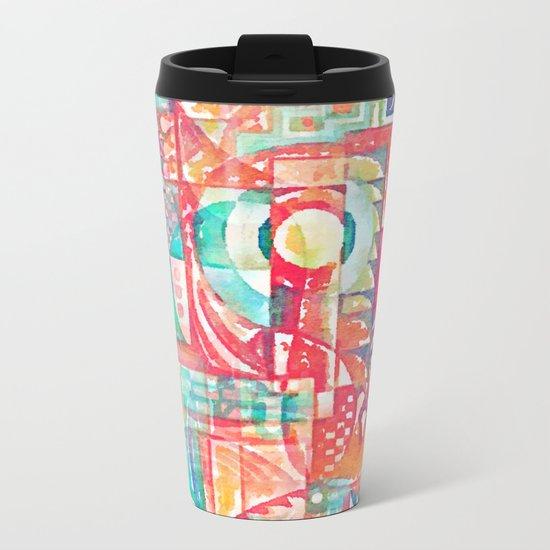 Sunshine Geometry in Watercolor Metal Travel Mug