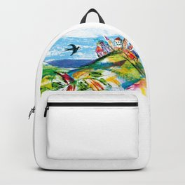 Swallow in the fairytale, painted pattern for kids, colourfull illustration Backpack