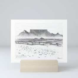 Table Mountain Beach Seascape / Landscape Pen Sketch Art fr Small Bay Mini Art Print