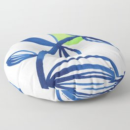 Blue and lime green minimalist leaves Floor Pillow