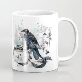 Blackwinged Birds Fly Past The Moonlit Raven's Eye Coffee Mug