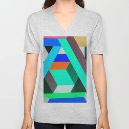 Teal Geometric Artwork - Abstract Pattern Unisex V-Neck
