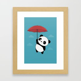 Kawaii Cute Panda With Umbrella Framed Art Print