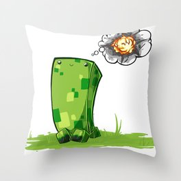 Happy Creeper Throw Pillow