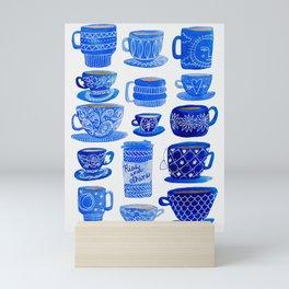 Coffee Mugs and Teacups - A study in blues Mini Art Print