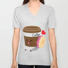 Coffee and Donut Unisex V-Neck