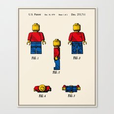 Lego Man Patent - Colour (v2) Canvas Print