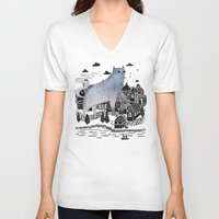 fog V-neck T-shirts featuring The Fog by littleclyde