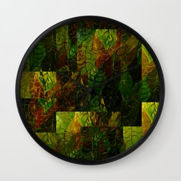 trippy leaves Wall Clock