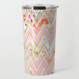 Pastel watercolor floral pink gold chevron pattern Travel Mug