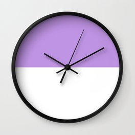 White and Light Violet Horizontal Halves Wall Clock