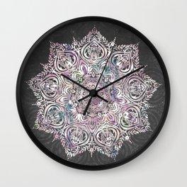 Dreaming Mandala - Magical Purple on Gray Wall Clock