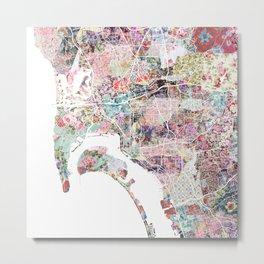 San Diego map flowers Metal Print