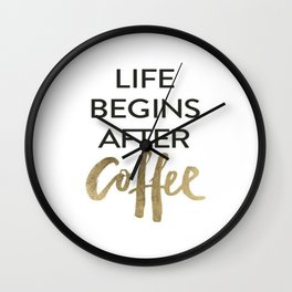 But First Coffee Brushtroke Watercolor Wall Clock