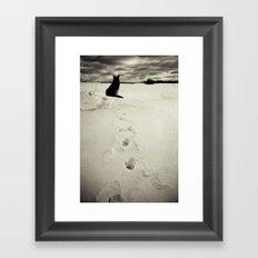 Winter landscape with dog  Framed Art Print