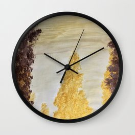 Golden secluded forest Wall Clock