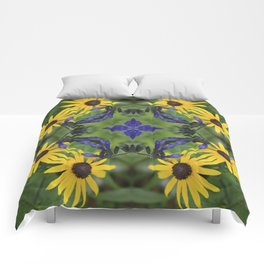 Blue Salvia Compass Points in a Ring of Rudbeckia Comforters