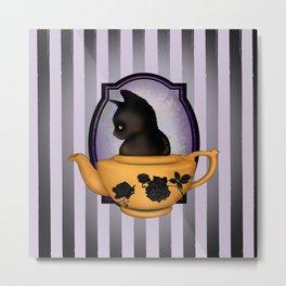 Teapot Cat Metal Print