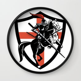Medieval Knight Jousting Saint Georges Cross Wall Clock