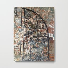 Iron gate, stone wall, St. Thomas USVI Metal Print