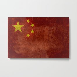 The National flag of the People's Republic of China in Vintage retro distressed texture form Metal Print