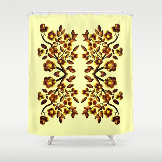 Yellow Brown Flower Leaf Pattern Vector Shower Curtain By Costasonlineshop Society6