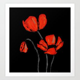 Red Poppies On Black by Sharon Cummings Art Print