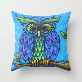 Owl in Blue Throw Pillow