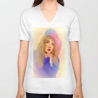 stevie nicks V-neck T-shirts featuring Stevie Nicks in Feathered Beret by Anne Merritt