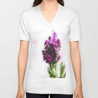 lavender V-neck T-shirts featuring Lavender by Carmen Lai Graphics