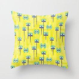 Evil Eye Nazar protective Garden Yellow Throw Pillow