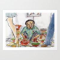 korean Art Prints featuring Korean Ajuuma by Obachan Style