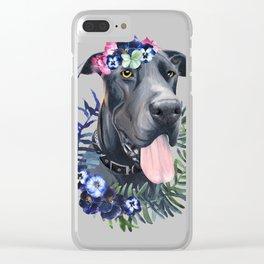 Flower power great Dane Clear iPhone Case