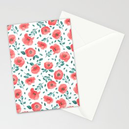 Watercolor poppy flowers Stationery Cards