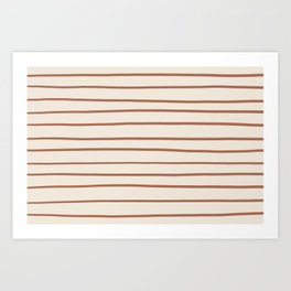 Inspired By Cavern Clay Sw 7701 Hand Drawn Thin Horizontal Lines on Creamy SW7012 Art Print