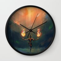airbender Wall Clocks featuring Firebender by AngHuiQing