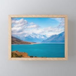 Blue waters of Lake Pukaki with snow-capped Mount Cook in the background in New Zealand Framed Mini Art Print