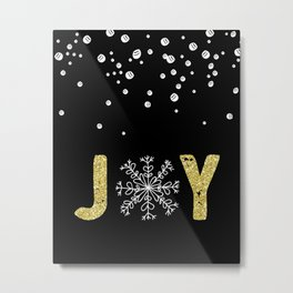 JOY w/White Snowflakes Metal Print