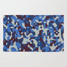 Blue & Burgandy Camo Pattern Rug