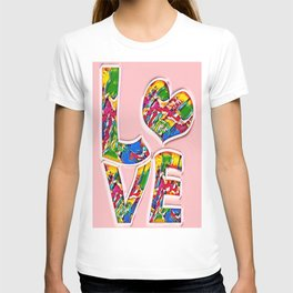 Colorful pink love T-shirt