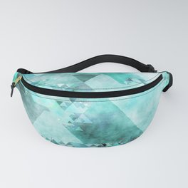 Triangles in aqua - Modern turquoise green blue triangle pattern Fanny Pack