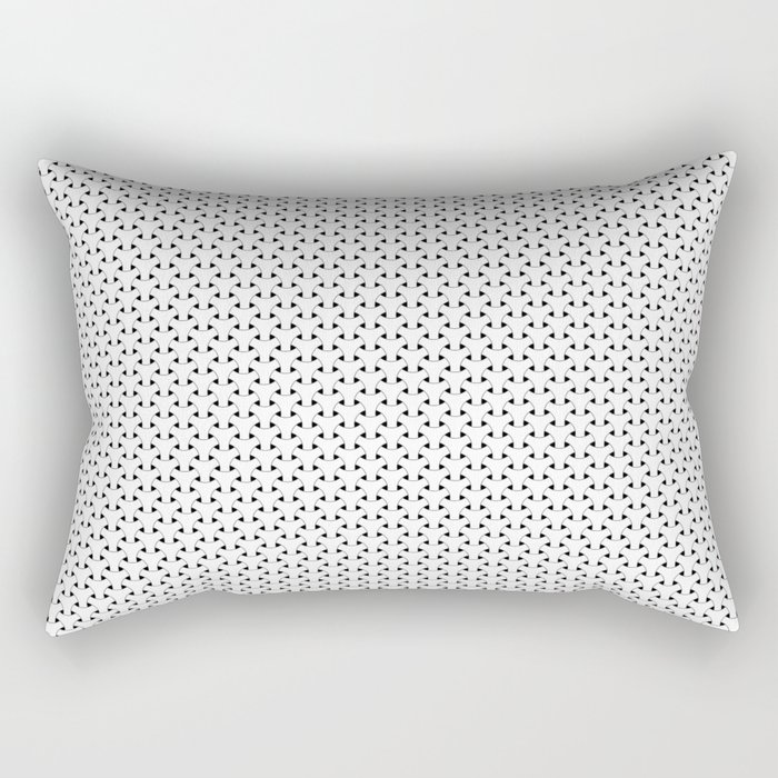 Black and White Basket Weave Shape Pattern - Graphic Design Rectangular Pillow