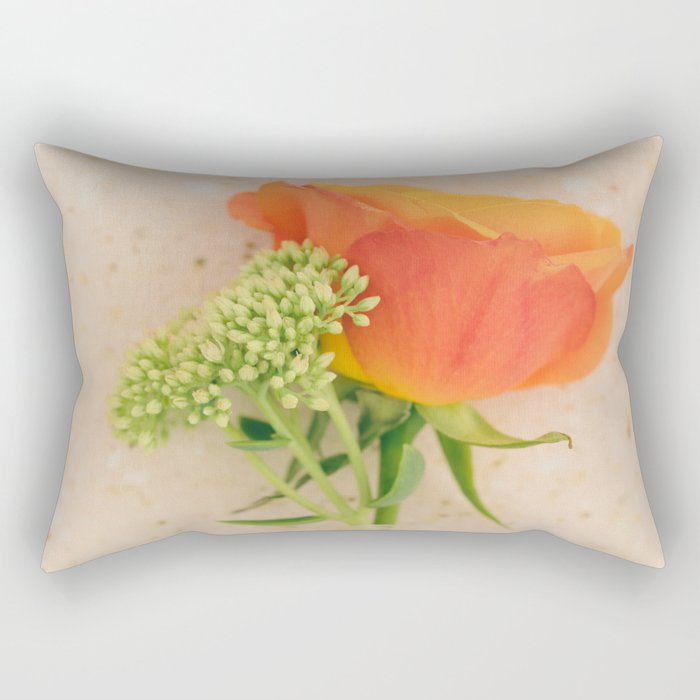 Mini Bouquet with an oramge rose Rectangular Pillow
